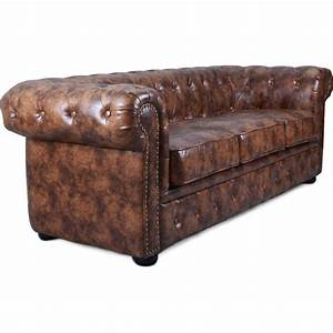 canape chesterfield 3 places cuir marron vintage susan With canapé chesterfield cuir