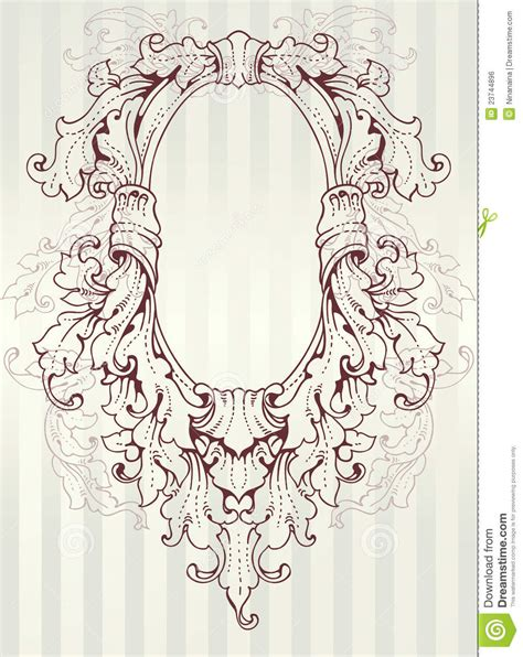 baroque oval frame royalty  stock image image