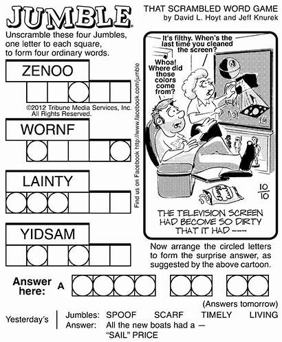 Jumble Puzzles Word Printable Puzzle Jumbles Adults