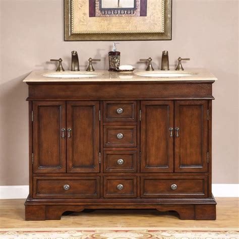 Silkroad Exclusive Mesa 48 Inch Double Sink Bathroom Vanity