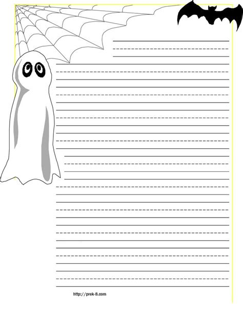halloween spider  web primary lined kids writing paper