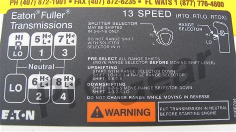 13 speed rtlo shift pattern diagram eaton fuller transmission p n 4300764