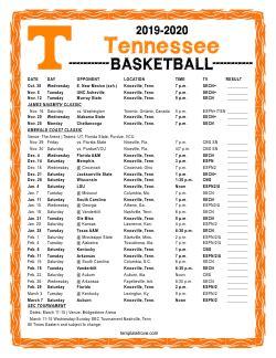 printable   tennessee volunteers basketball schedule