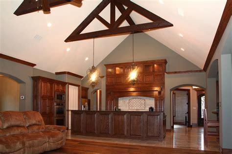 rustic kitchen open concept floor plan