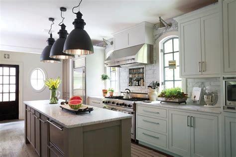 white kitchen  taupe island transitional kitchen