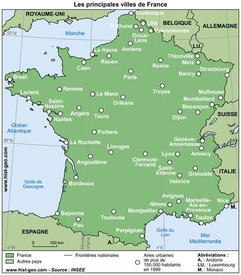 Carte De Avec Principales Villes A Imprimer by Geography Cartes De