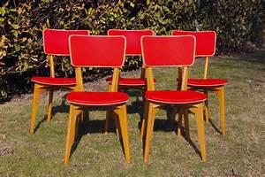 Chaise Bois Vintage : suite de cinq chaises bois et vinyle chouette vintage ~ Teatrodelosmanantiales.com Idées de Décoration