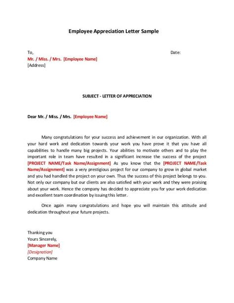sample appreciation letters writing letters formats