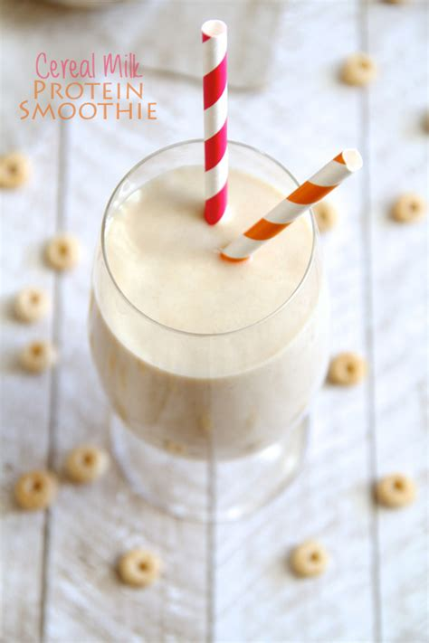 Cereal Milk Protein Smoothie Running With Spoons