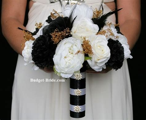 Black, White And Gold Wedding Flowers Bouquet