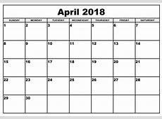 April 2018 Calendar Printable Template PDF UK USA Canada