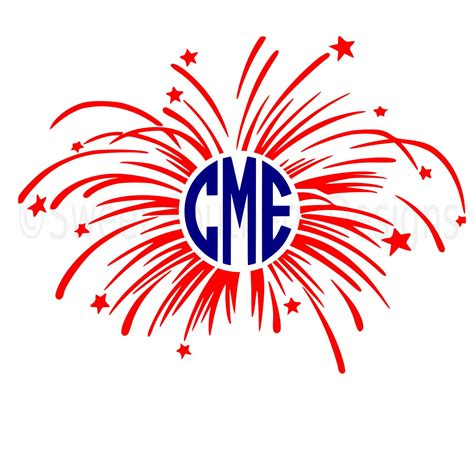 To clarify the list of pictures that you see: Monogram fireworks fourth of July Memorial Day SVG instant