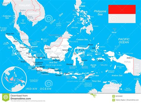 indonesia map  flag illustration stock illustration