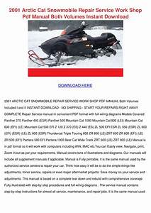 2001 Arctic Cat Snowmobile Repair Service Wor By