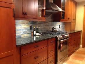 Kitchen Backsplash Ideas Cherry Cabinets by Kitchen Remodel Cherry Cabinets Slate Backsplash