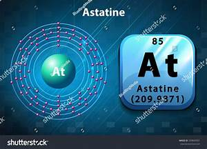 Symbol Electron Diagram Astatine Illustration Stock Vector