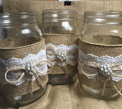 Set Of 10 Burlap Quart Mason Jar Wraps Rustic By