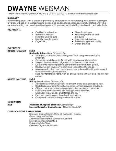 Hair Stylist Resume Summary Exles by Best Stylist Resume Exle Livecareer