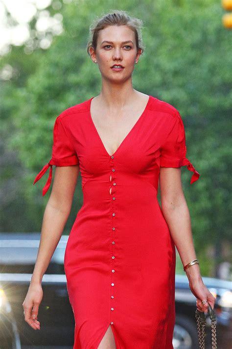 Karlie Kloss Bright Red Button Dress New York