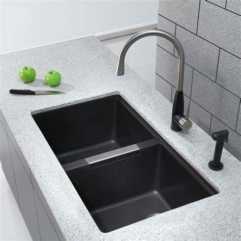 kraus kgub   undermount  double bowl granite
