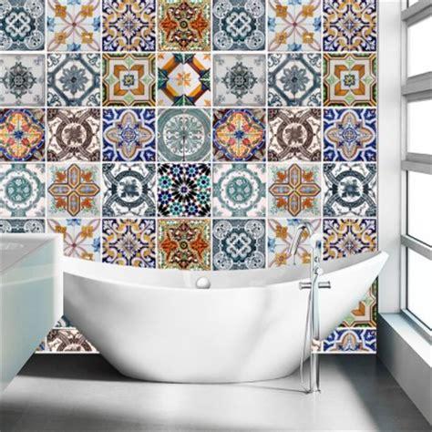 carreaux autocollants cuisine carrelage adhésif pour salle de bain modèle portugais