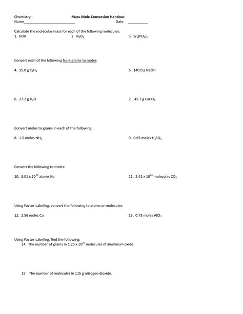 11 best images of mole to mole equation worksheets mole