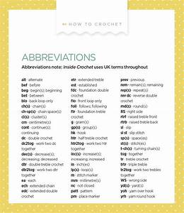 Abbreviations Crochet  Uk Terms