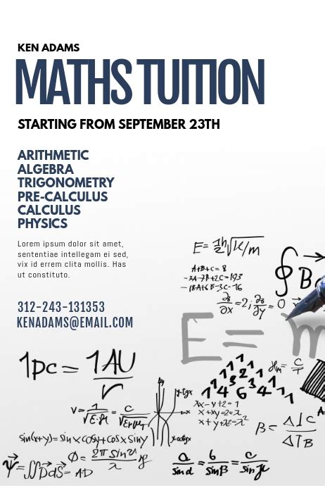 math tuition flyer template postermywall