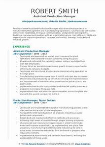 Production Manager Resume Sample Production Manager Resume Samples Qwikresume