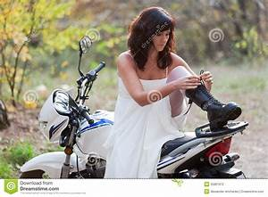 bride on motorcycle stock photo image of groom eloping With motorcycle wedding dress