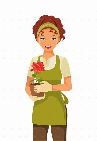 Clipart Gardener Woman Lady Webstockreview