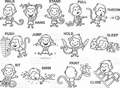 Verbs Action Clipart Word Outline Shutterstock Monkey