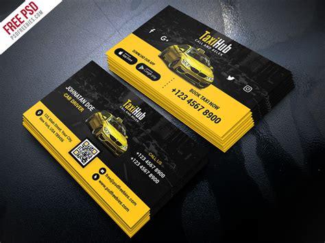 cab taxi services business card template psd  psd