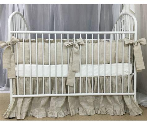 Natural Linen Crib Bedding Neutral Baby Bedding Set Ruffled