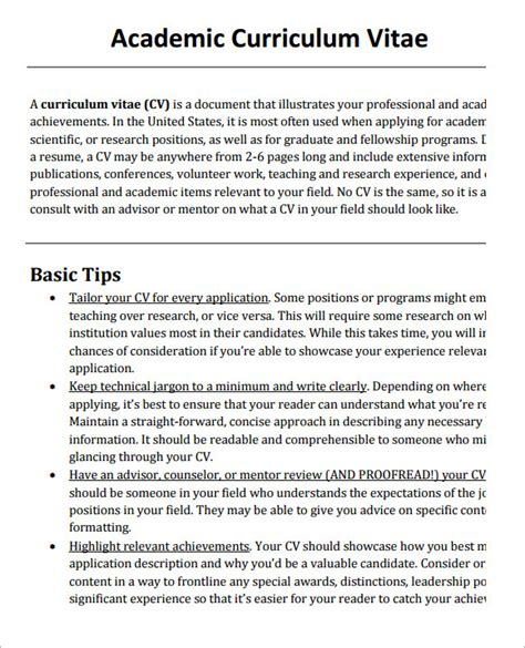 How To Make Professional Cv Format by Sle Academic Cv Template 8 Documents In Pdf