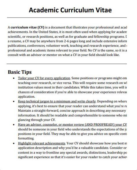 sle academic cv template 8 documents in pdf