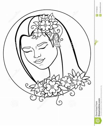Flowers Drawing Line Woman Wreath Surrounded Leaves