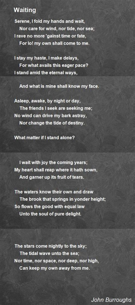 waiting poem  john burroughs poem hunter