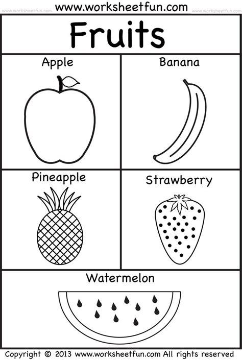 fruits fruit coloring pages kindergarten worksheets