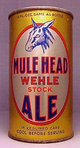 Wehle Mule Head Stock Ale Beer Can from Wehle Brewing Co.