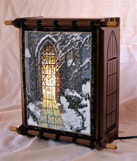 stained glass light box black walnut light box featuring a beaded stained glass
