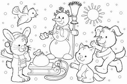 Winter Coloring Scene Pages Printable Getcolorings Sheet
