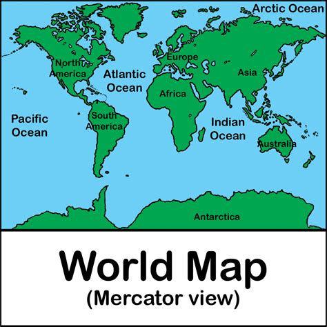 Clip Art World Map 02 Color Labeled Abcteach