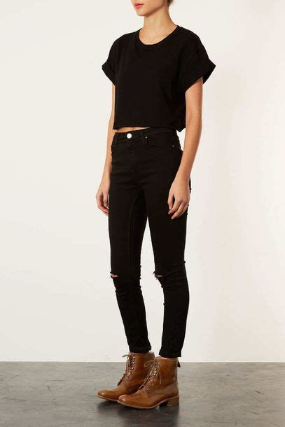 Jeans black jeans black tumblr skinny pretty t-shirt destroyed skinny jeans shirt shoes ...
