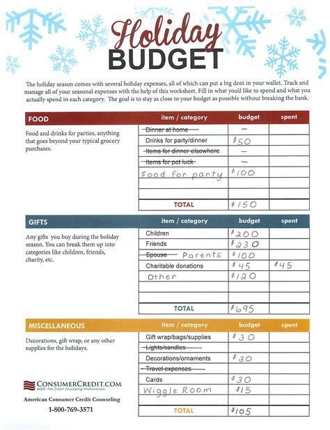 holiday budgeting worksheet talking cents