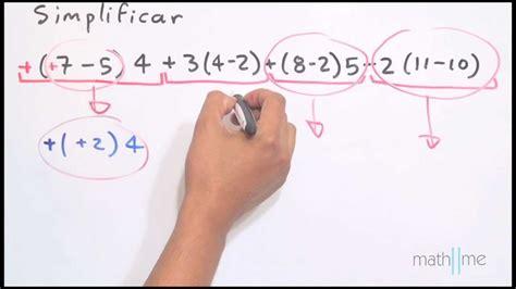 Simplificar (7-5)4+3(4-2)+(8-2)5-2(11-10)