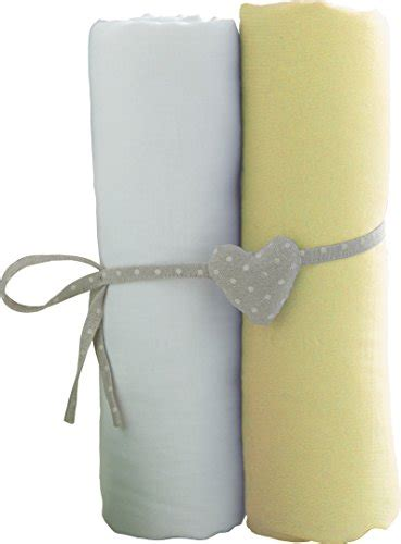 babycalin bbc413414 lot 2 draps housse pour lit de 60 x 120 cm blanc jaune your 1