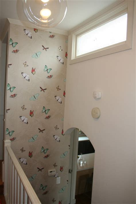 Kitchen Ideas For Remodeling - butterfly wallpaper eclectic hall san francisco
