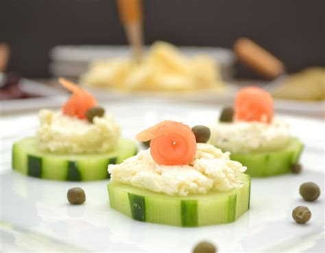 hors dourves cucumber hors d oeuvres with garlic herb cheese smoked salmon capers