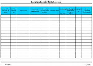 Complaint register for laboratory for Document register template free